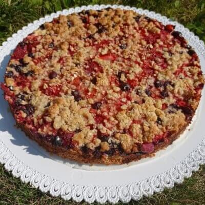 Koláč jahody borůvky/rebarbora